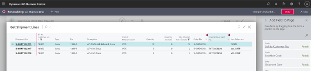 Shows Get Shipment Lines page with new columns.